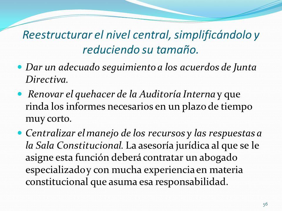 Reestructurar el nivel central, simplificándolo y reduciendo su tamaño. Dar un adecuado seguimiento a los acuerdos de Junta Directiva. Renovar el queh