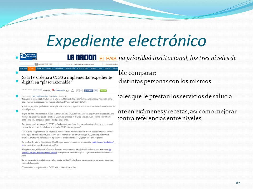 Expediente electrónico Declarar el expediente electrónico una prioridad institucional, los tres niveles de atención. A partir de esta información es p