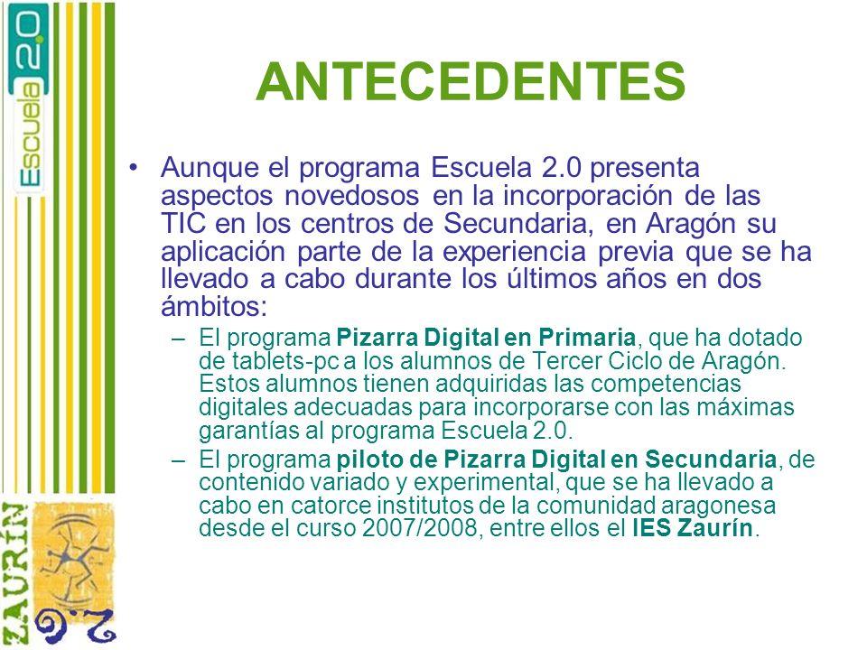 ANTECEDENTES Aunque el programa Escuela 2.0 presenta aspectos novedosos en la incorporación de las TIC en los centros de Secundaria, en Aragón su apli