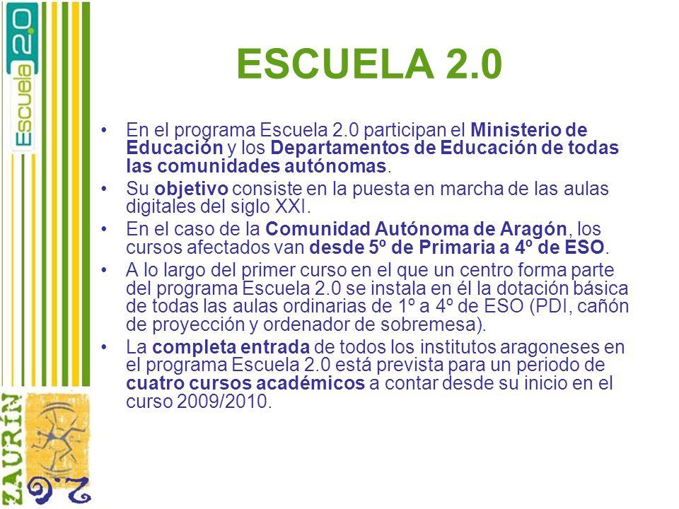 ESCUELA 2.0 En el programa Escuela 2.0 participan el Ministerio de Educación y los Departamentos de Educación de todas las comunidades autónomas. Su o