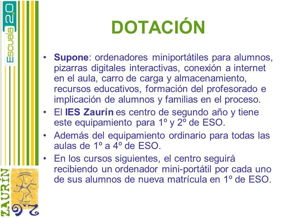 DOTACIÓN Supone: ordenadores miniportátiles para alumnos, pizarras digitales interactivas, conexión a internet en el aula, carro de carga y almacenami