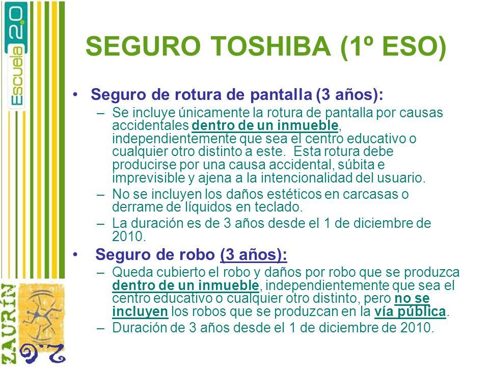 SEGURO TOSHIBA (1º ESO) Seguro de rotura de pantalla (3 años): –Se incluye únicamente la rotura de pantalla por causas accidentales dentro de un inmue