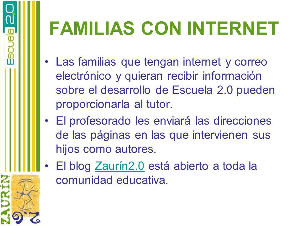 FAMILIAS CON INTERNET Las familias que tengan internet y correo electrónico y quieran recibir información sobre el desarrollo de Escuela 2.0 pueden pr