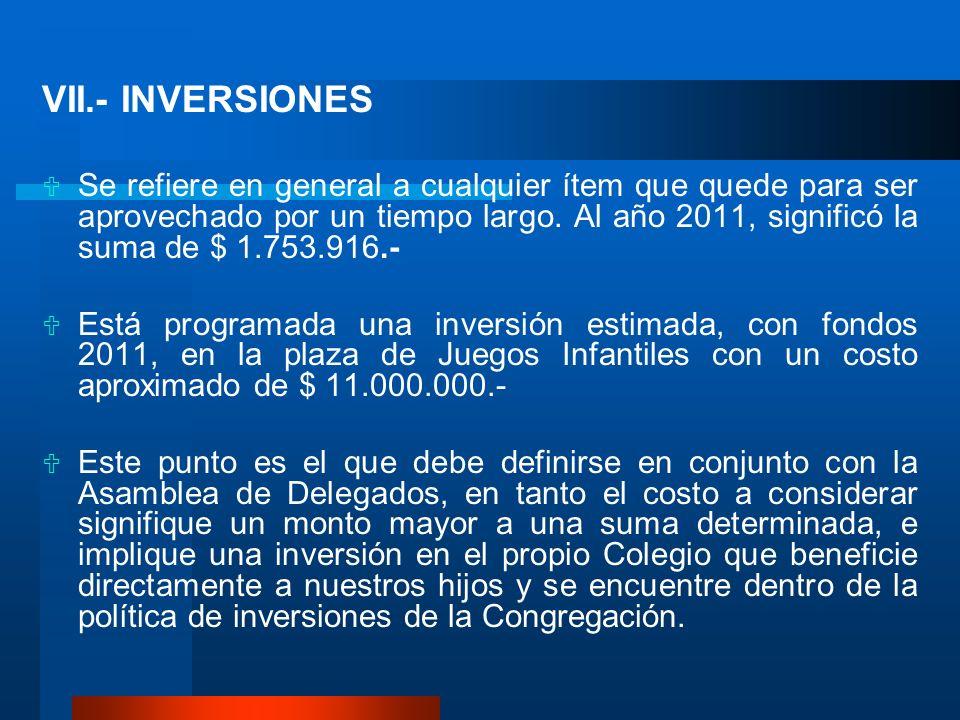 VII.- INVERSIONES Se refiere en general a cualquier ítem que quede para ser aprovechado por un tiempo largo. Al año 2011, significó la suma de $ 1.753