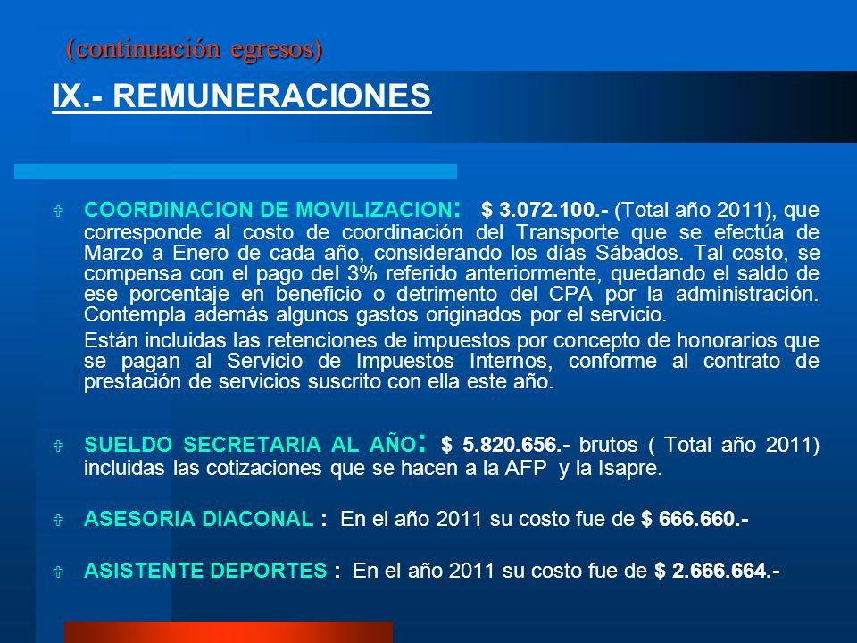 (continuación egresos) IX.- REMUNERACIONES COORDINACION DE MOVILIZACION : $ 3.072.100.- (Total año 2011), que corresponde al costo de coordinación del