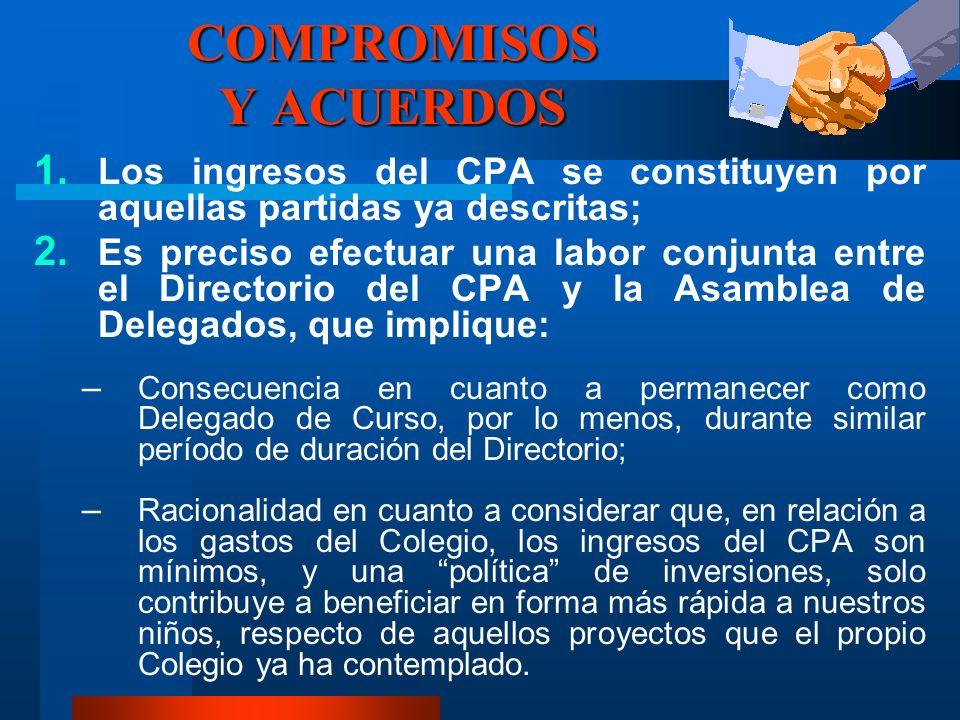 COMPROMISOS Y ACUERDOS 1. Los ingresos del CPA se constituyen por aquellas partidas ya descritas; 2. Es preciso efectuar una labor conjunta entre el D