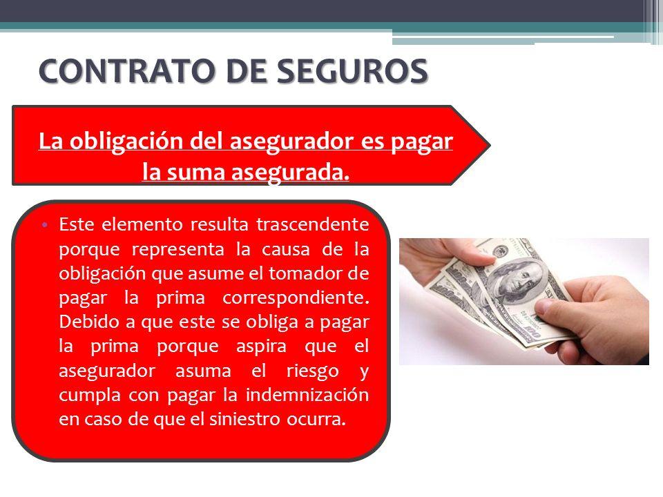 CONTRATO DE SEGUROS La obligación del asegurador es pagar la suma asegurada. Este elemento resulta trascendente porque representa la causa de la oblig