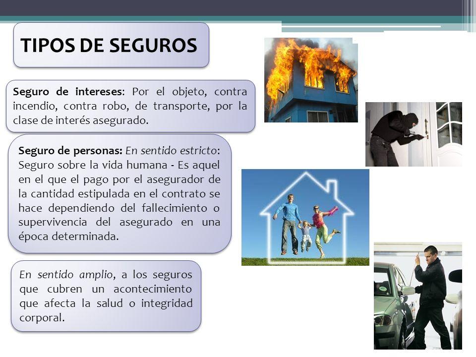 Seguro de intereses: Por el objeto, contra incendio, contra robo, de transporte, por la clase de interés asegurado. Seguro de personas: En sentido est