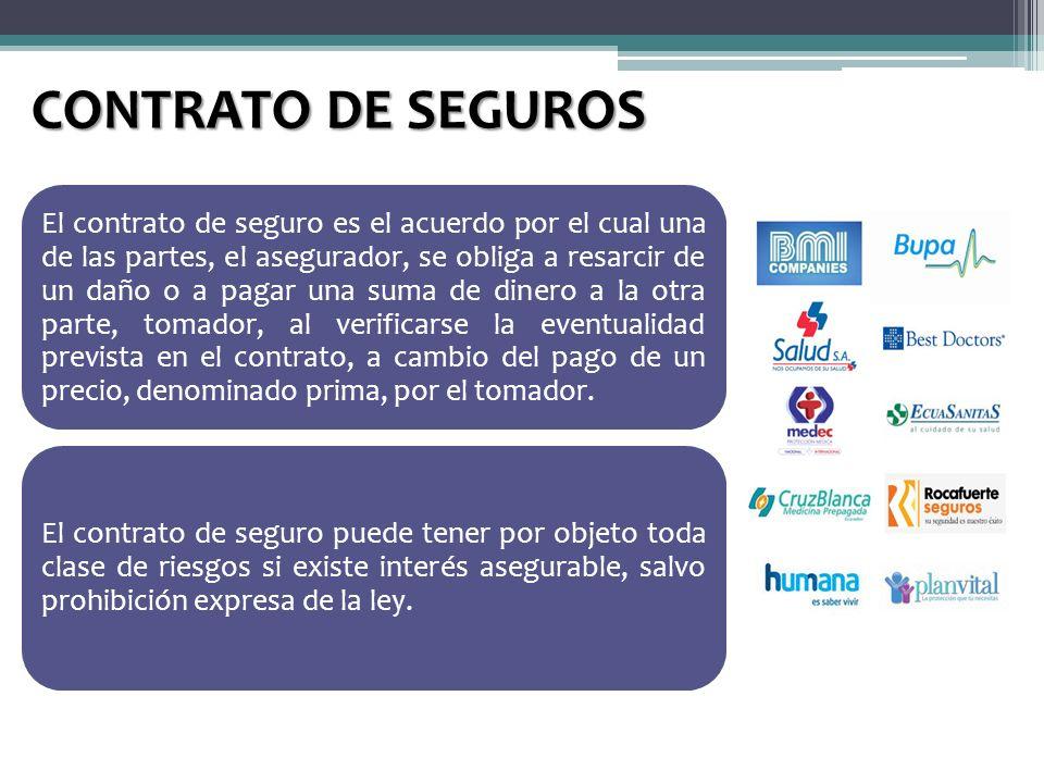 CONTRATO DE SEGUROS El contrato de seguro es el acuerdo por el cual una de las partes, el asegurador, se obliga a resarcir de un daño o a pagar una su