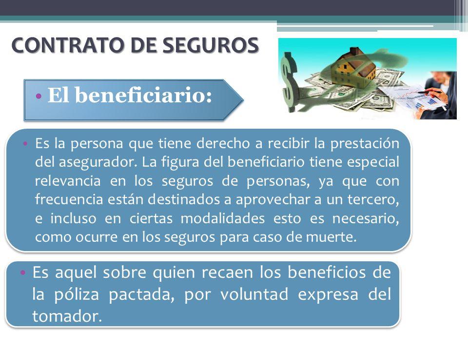 El beneficiario: CONTRATO DE SEGUROS Es la persona que tiene derecho a recibir la prestación del asegurador. La figura del beneficiario tiene especial