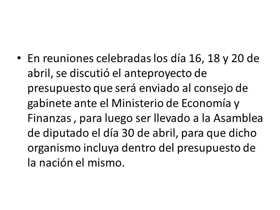 En reuniones celebradas los día 16, 18 y 20 de abril, se discutió el anteproyecto de presupuesto que será enviado al consejo de gabinete ante el Ministerio de Economía y Finanzas, para luego ser llevado a la Asamblea de diputado el día 30 de abril, para que dicho organismo incluya dentro del presupuesto de la nación el mismo.
