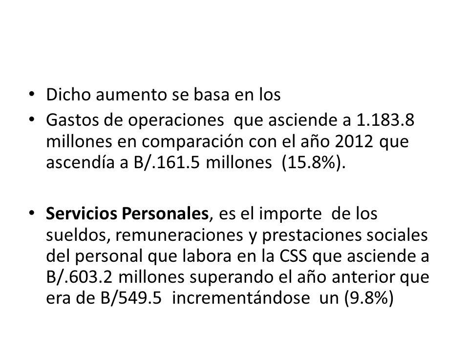 Dicho aumento se basa en los Gastos de operaciones que asciende a 1.183.8 millones en comparación con el año 2012 que ascendía a B/.161.5 millones (15.8%).