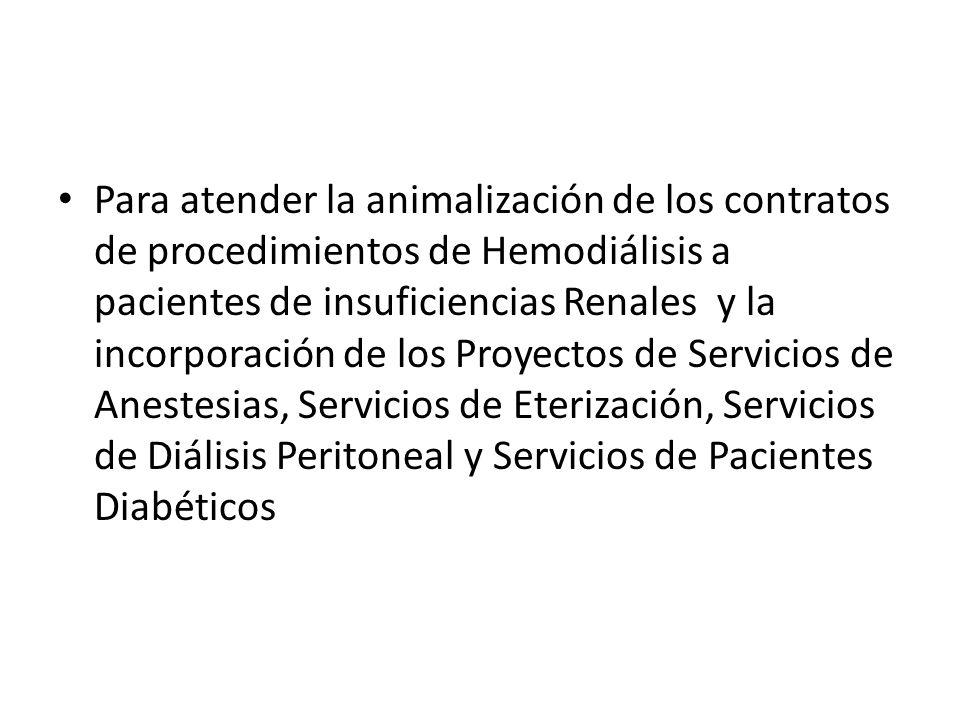 Para atender la animalización de los contratos de procedimientos de Hemodiálisis a pacientes de insuficiencias Renales y la incorporación de los Proyectos de Servicios de Anestesias, Servicios de Eterización, Servicios de Diálisis Peritoneal y Servicios de Pacientes Diabéticos