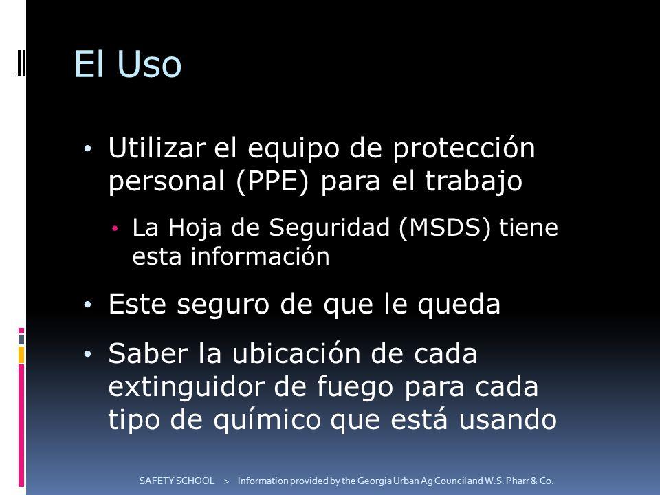 El Uso Utilizar el equipo de protección personal (PPE) para el trabajo La Hoja de Seguridad (MSDS) tiene esta información Este seguro de que le queda