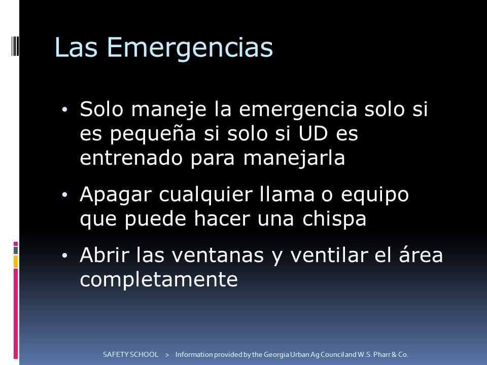 Las Emergencias Solo maneje la emergencia solo si es pequeña si solo si UD es entrenado para manejarla Apagar cualquier llama o equipo que puede hacer