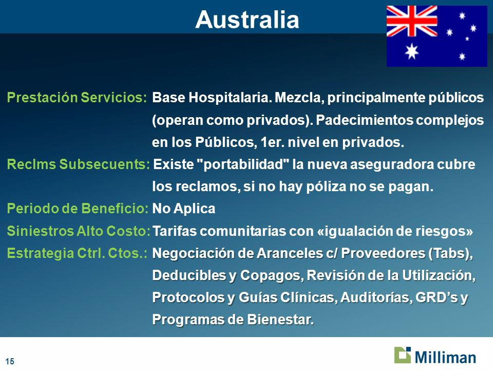 15 Australia Prestación Servicios:Base Hospitalaria.