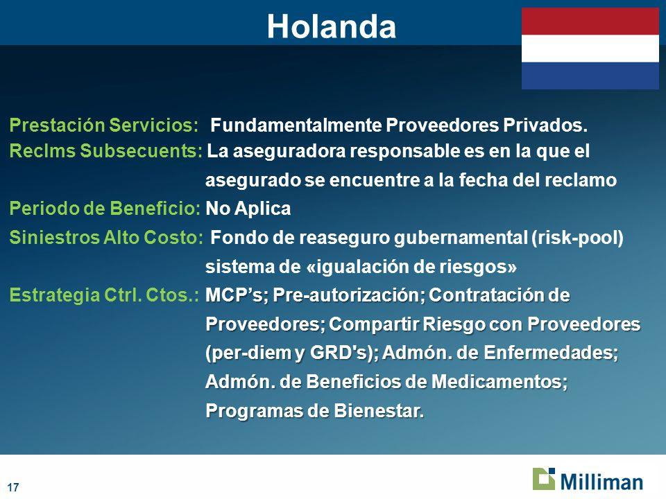 17 Holanda Prestación Servicios: Fundamentalmente Proveedores Privados.