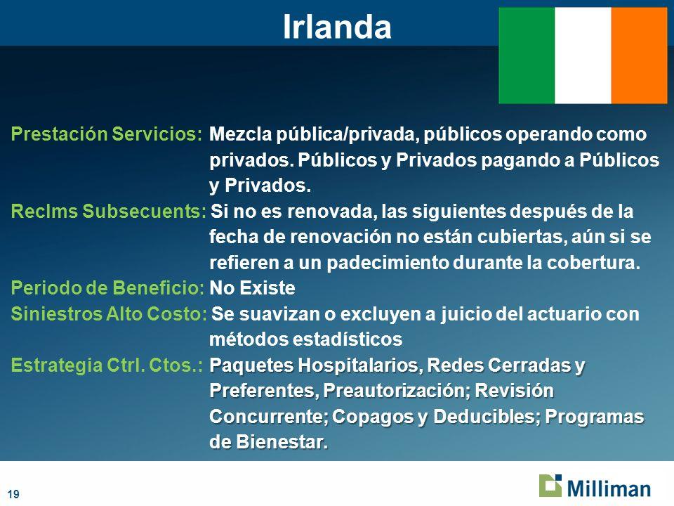 19 Irlanda Prestación Servicios:Mezcla pública/privada, públicos operando como privados.