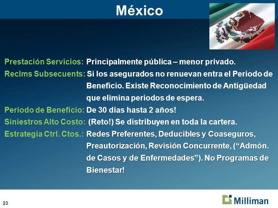23 México Prestación Servicios:Principalmente pública – menor privado. Reclms Subsecuents: Si los asegurados no renuevan entra el Periodo de Beneficio