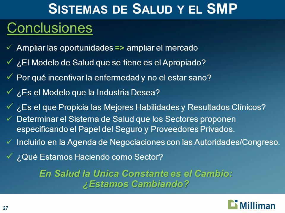 27 Conclusiones S ISTEMAS DE S ALUD Y EL SMP => Ampliar las oportunidades => ampliar el mercado ¿El Modelo de Salud que se tiene es el Apropiado.