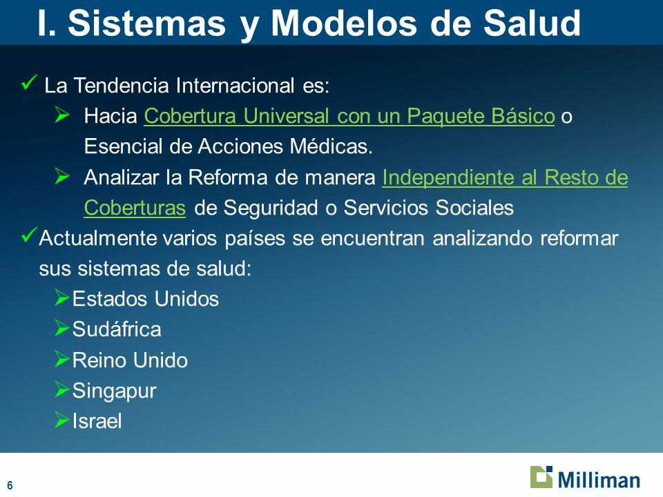 6 I. Sistemas y Modelos de Salud La Tendencia Internacional es: Hacia Cobertura Universal con un Paquete Básico o Esencial de Acciones Médicas. Analiz