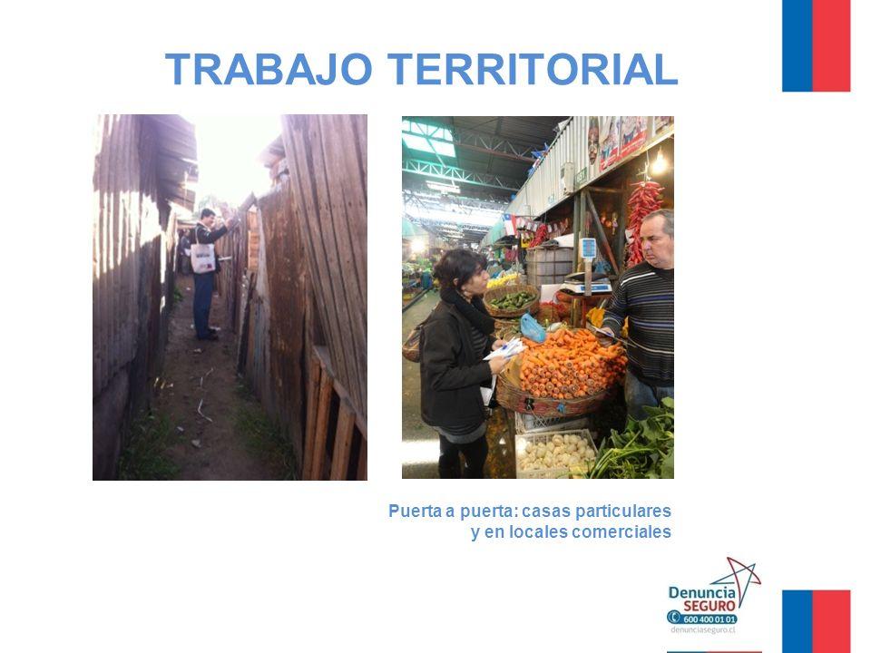 TRABAJO TERRITORIAL Puerta a puerta: casas particulares y en locales comerciales