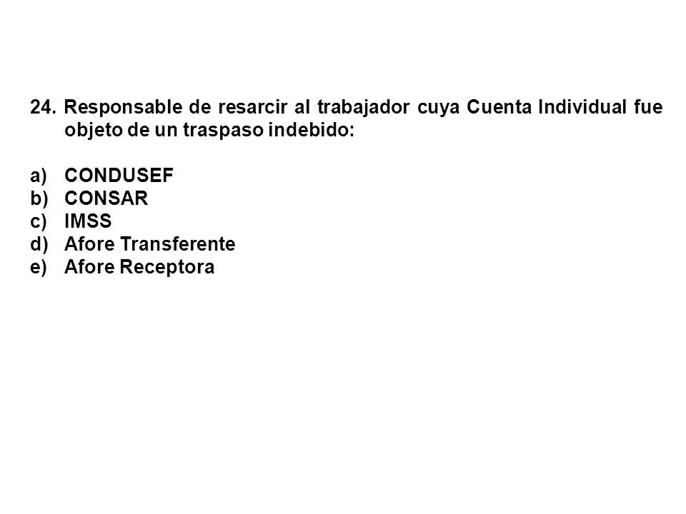 24. Responsable de resarcir al trabajador cuya Cuenta Individual fue objeto de un traspaso indebido: a)CONDUSEF b)CONSAR c)IMSS d)Afore Transferente e