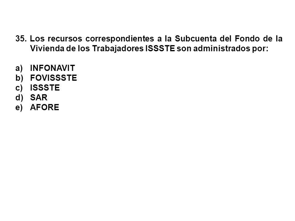 35. Los recursos correspondientes a la Subcuenta del Fondo de la Vivienda de los Trabajadores ISSSTE son administrados por: a)INFONAVIT b)FOVISSSTE c)
