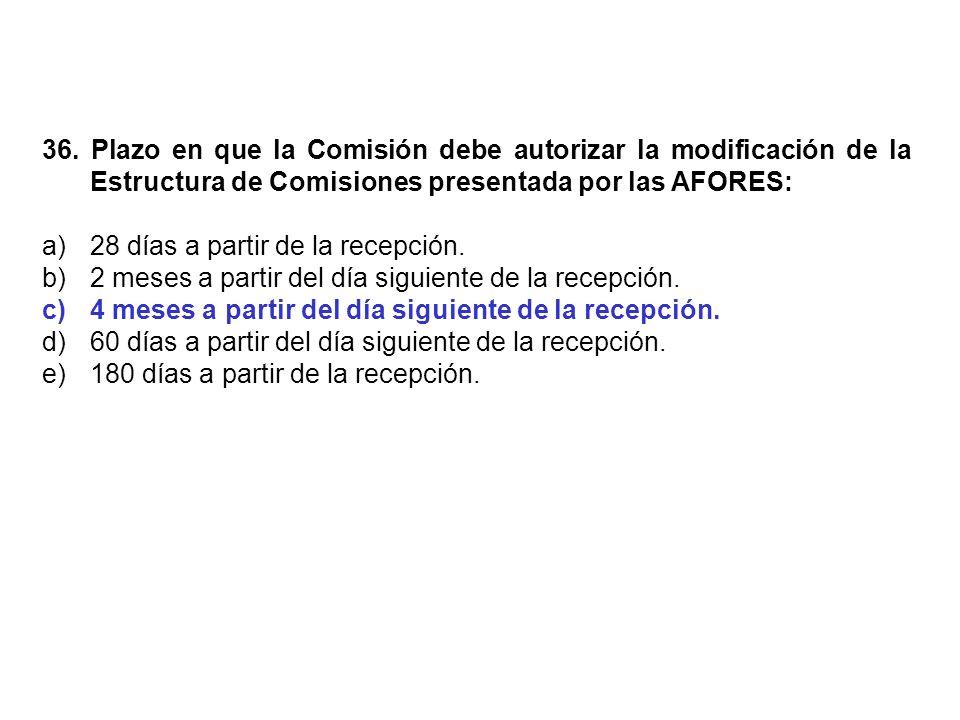 36. Plazo en que la Comisión debe autorizar la modificación de la Estructura de Comisiones presentada por las AFORES: a)28 días a partir de la recepci