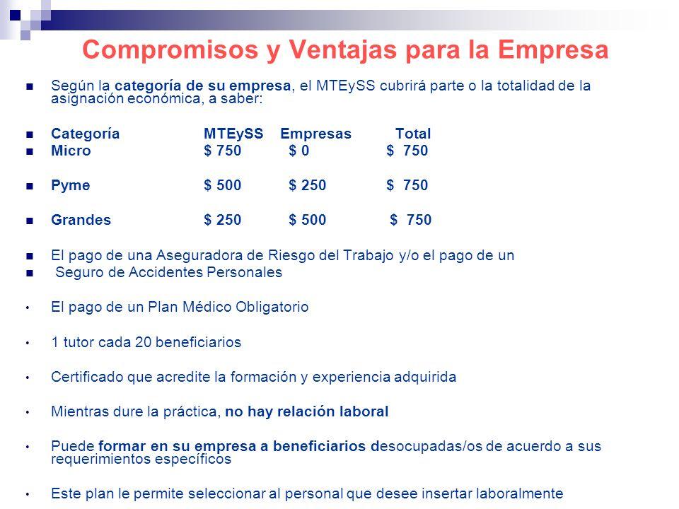 Compromisos y Ventajas para la Empresa Según la categoría de su empresa, el MTEySS cubrirá parte o la totalidad de la asignación económica, a saber: C