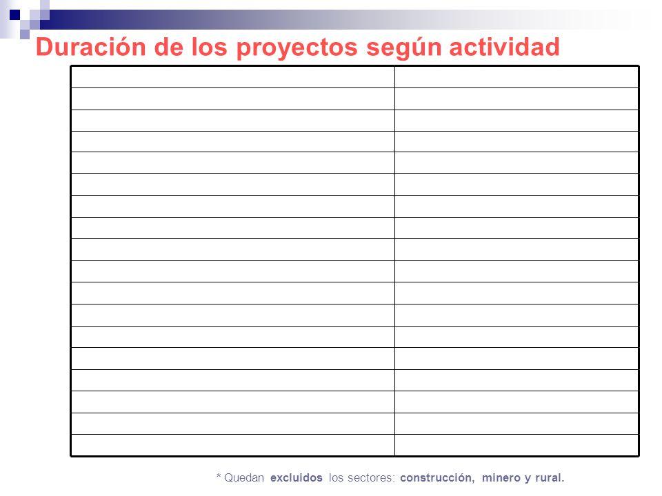 Duración de los proyectos según actividad * Quedan excluidos los sectores: construcción, minero y rural.