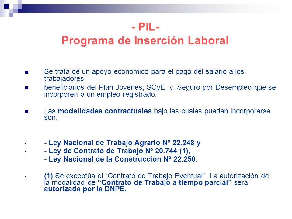 - PIL- Programa de Inserción Laboral Se trata de un apoyo económico para el pago del salario a los trabajadores beneficiarios del Plan Jóvenes; SCyE y Seguro por Desempleo que se incorporen a un empleo registrado.