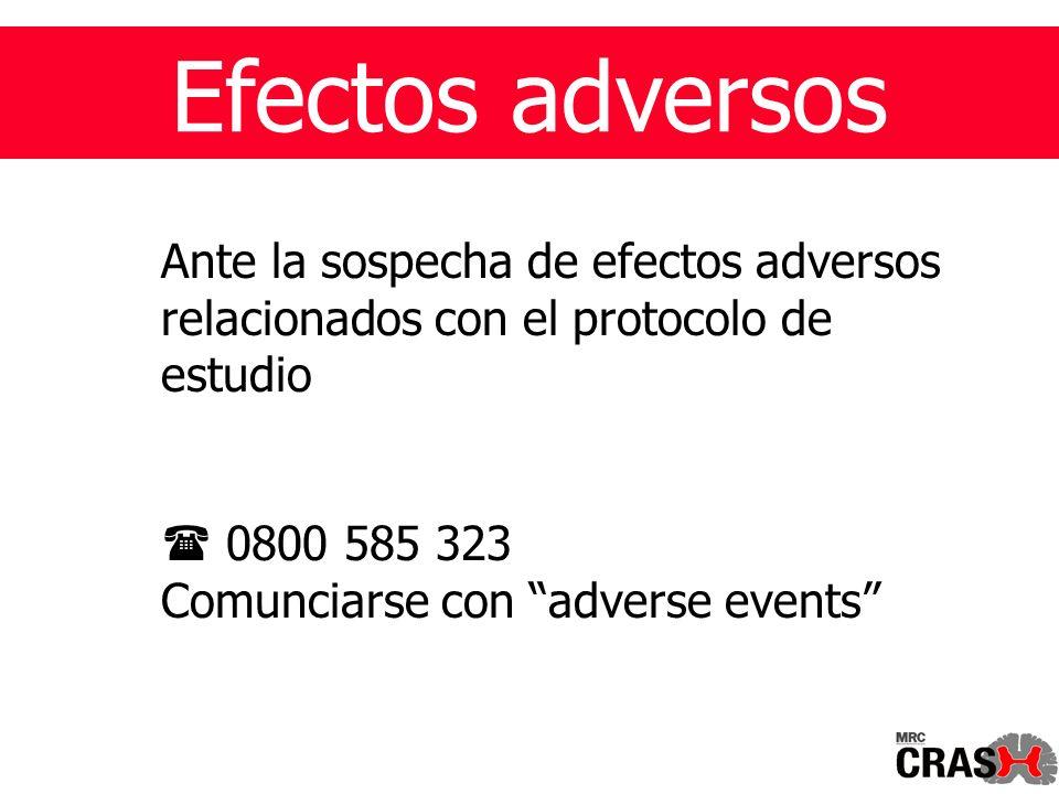Efectos adversos Ante la sospecha de efectos adversos relacionados con el protocolo de estudio 0800 585 323 Comunciarse con adverse events
