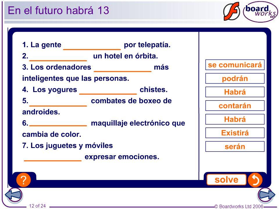 © Boardworks Ltd 2006 13 of 24 En el futuro habrá 14 ¿Qué predicciones de futuro puedes hacer tú sobre estos temas.