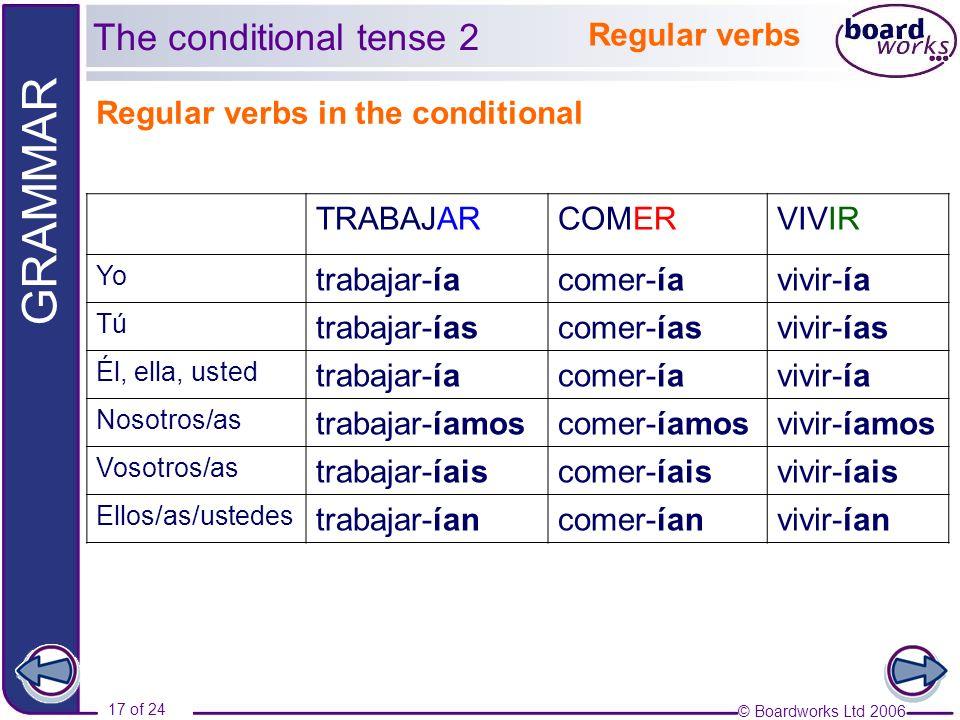 © Boardworks Ltd 2006 17 of 24 GRAMMAR The conditional tense 2 Regular verbs in the conditional TRABAJARCOMERVIVIR Yo trabajar-íacomer-íavivir-ía Tú t