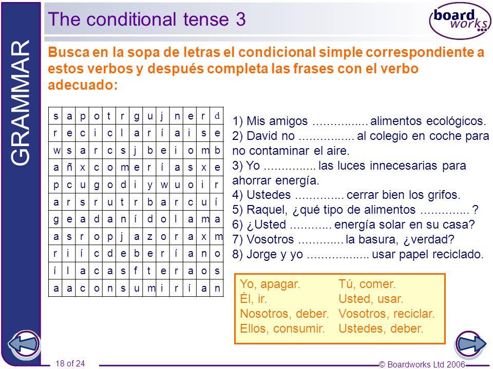 © Boardworks Ltd 2006 18 of 24 GRAMMAR The conditional tense 3 Busca en la sopa de letras el condicional simple correspondiente a estos verbos y despu