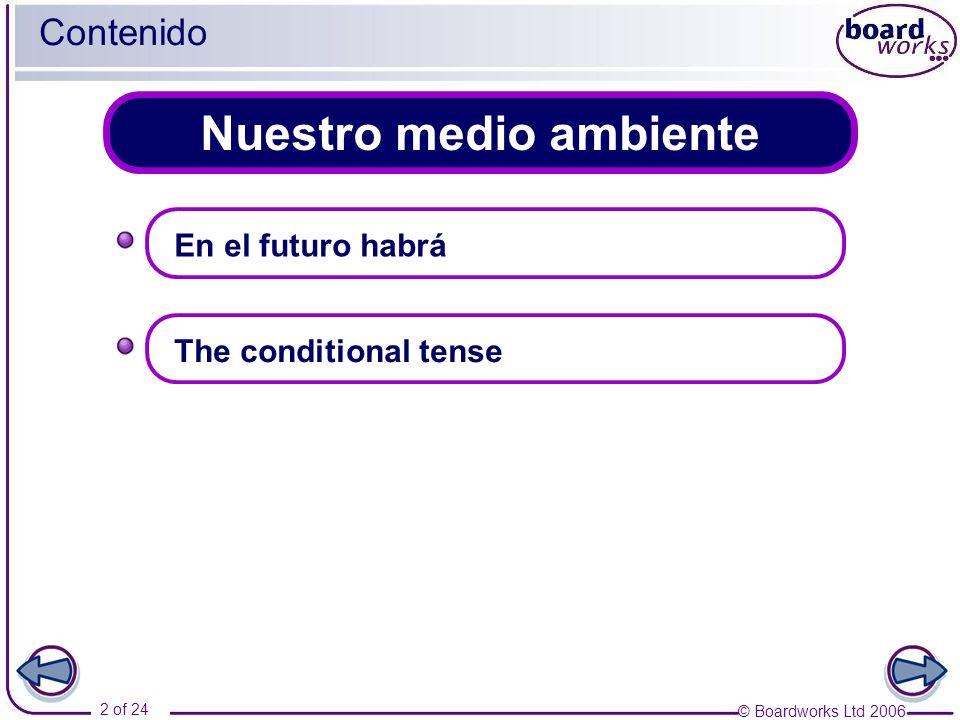 © Boardworks Ltd 2006 2 of 24 Nuestro medio ambiente Contenido En el futuro habrá The conditional tense
