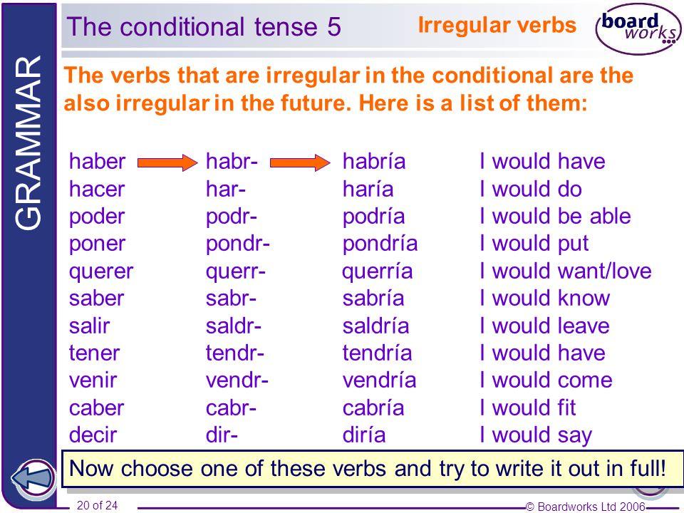 © Boardworks Ltd 2006 21 of 24 GRAMMAR Irregular verbs 1) Nosotros...............
