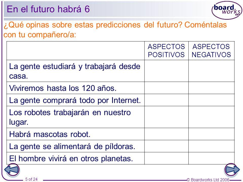 © Boardworks Ltd 2006 5 of 24 En el futuro habrá 6 ¿Qué opinas sobre estas predicciones del futuro? Coméntalas con tu compañero/a: ASPECTOS POSITIVOS