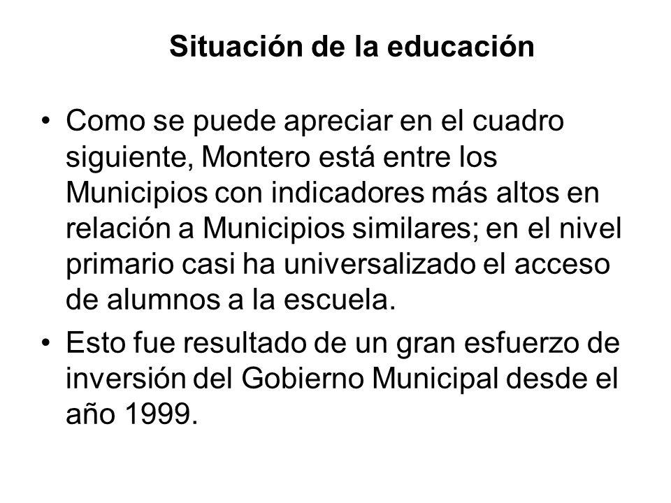 Situación de la educación Como se puede apreciar en el cuadro siguiente, Montero está entre los Municipios con indicadores más altos en relación a Mun