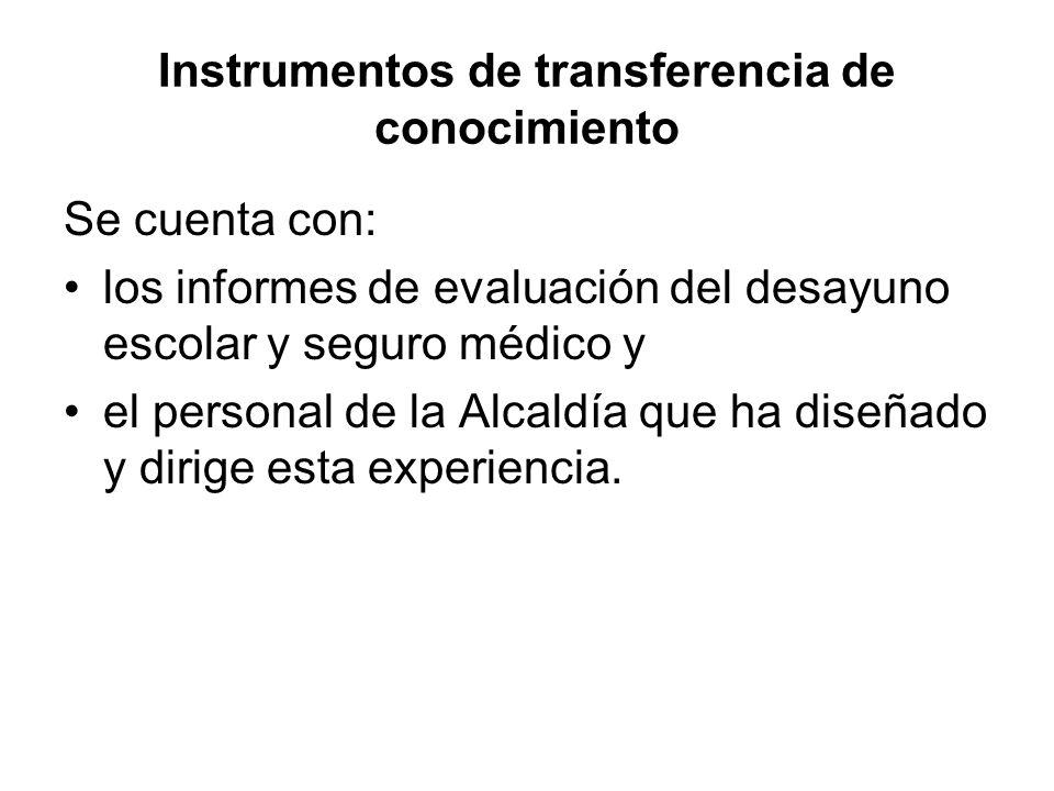 Instrumentos de transferencia de conocimiento Se cuenta con: los informes de evaluación del desayuno escolar y seguro médico y el personal de la Alcaldía que ha diseñado y dirige esta experiencia.