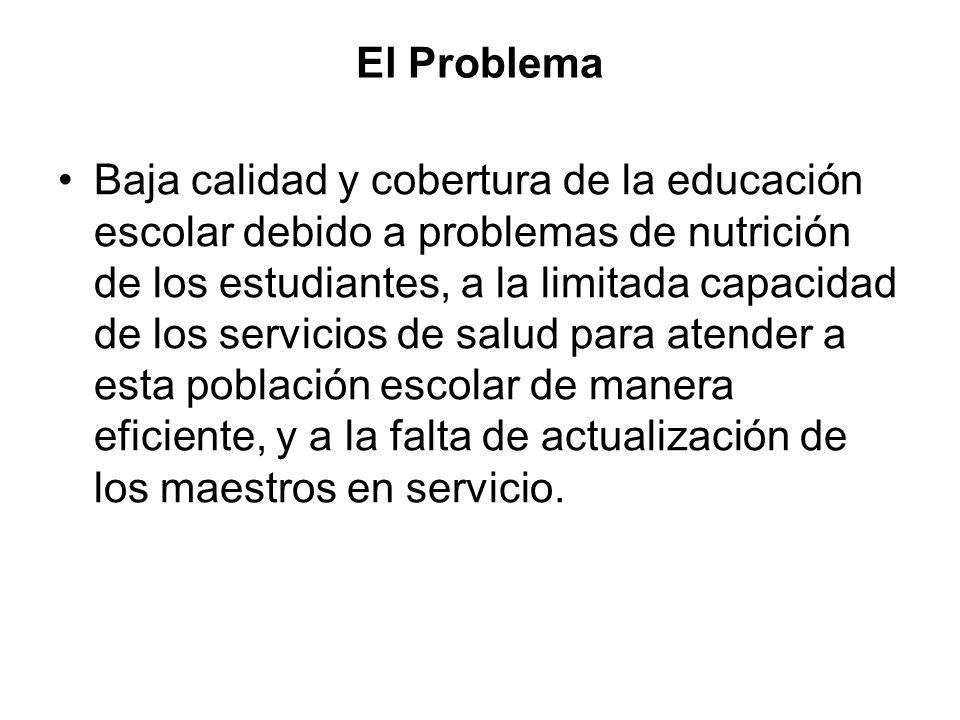 El Problema Baja calidad y cobertura de la educación escolar debido a problemas de nutrición de los estudiantes, a la limitada capacidad de los servicios de salud para atender a esta población escolar de manera eficiente, y a la falta de actualización de los maestros en servicio.