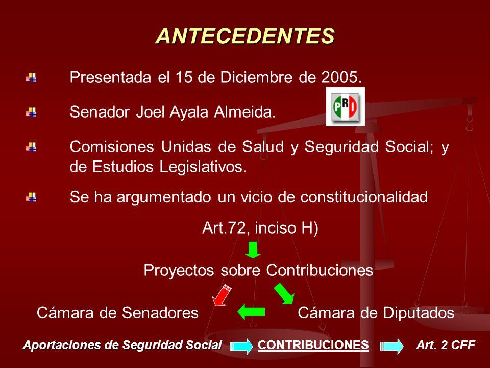 ANTECEDENTES Presentada el 15 de Diciembre de 2005. Senador Joel Ayala Almeida. Comisiones Unidas de Salud y Seguridad Social; y de Estudios Legislati