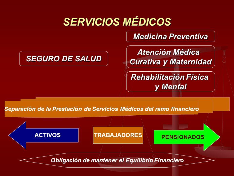 SERVICIOS MÉDICOS SEGURO DE SALUD Medicina Preventiva Atención Médica Curativa y Maternidad Rehabilitación Física y Mental Separación de la Prestación