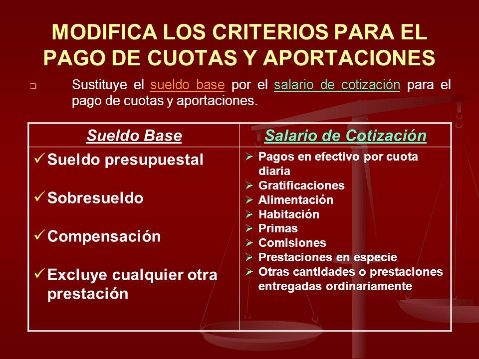MODIFICA LOS CRITERIOS PARA EL PAGO DE CUOTAS Y APORTACIONES Sustituye el sueldo base por el salario de cotización para el pago de cuotas y aportacion