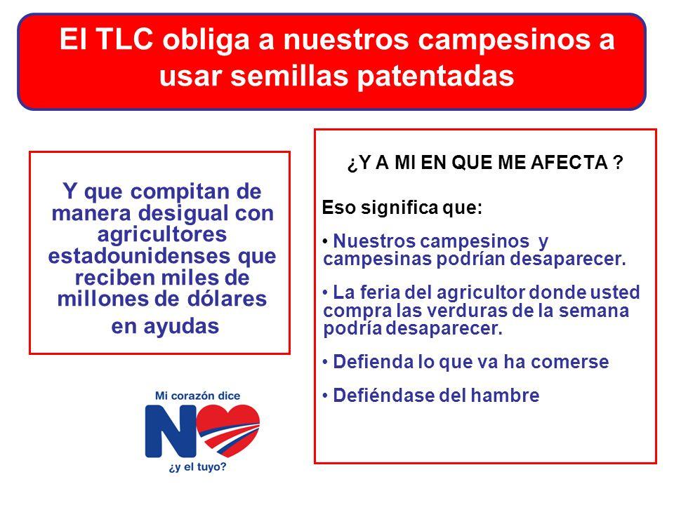 El TLC obliga a nuestros campesinos a usar semillas patentadas Y que compitan de manera desigual con agricultores estadounidenses que reciben miles de millones de dólares en ayudas ¿Y A MI EN QUE ME AFECTA .