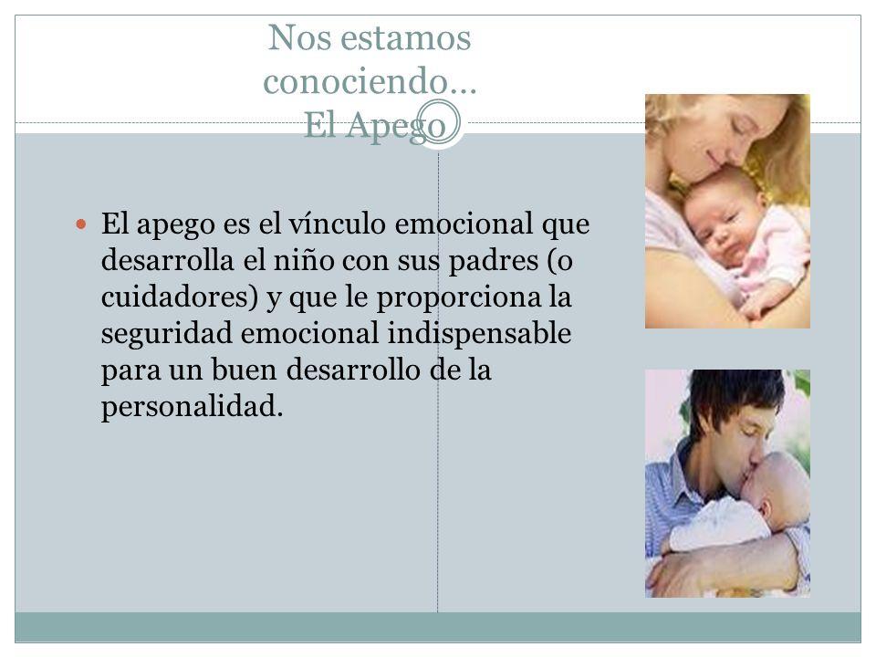 Nos estamos conociendo… El Apego El apego es el vínculo emocional que desarrolla el niño con sus padres (o cuidadores) y que le proporciona la segurid