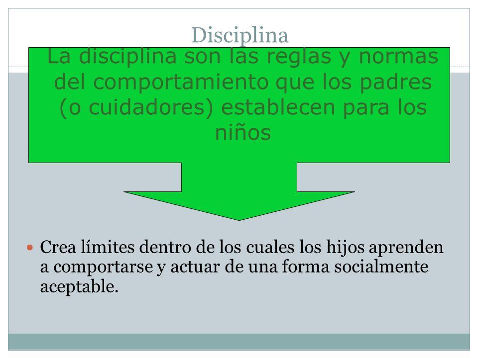 Disciplina Crea límites dentro de los cuales los hijos aprenden a comportarse y actuar de una forma socialmente aceptable. La disciplina son las regla