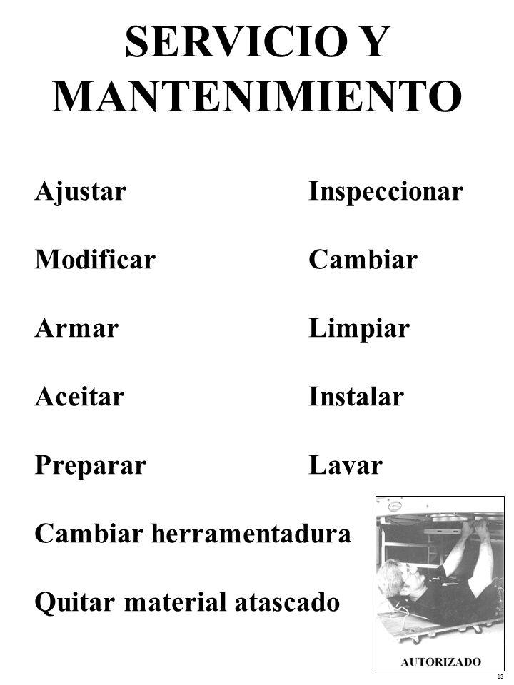 18 Ajustar Inspeccionar Modificar Cambiar Armar Limpiar Aceitar Instalar PrepararLavar Cambiar herramentadura Quitar material atascado SERVICIO Y MANTENIMIENTO