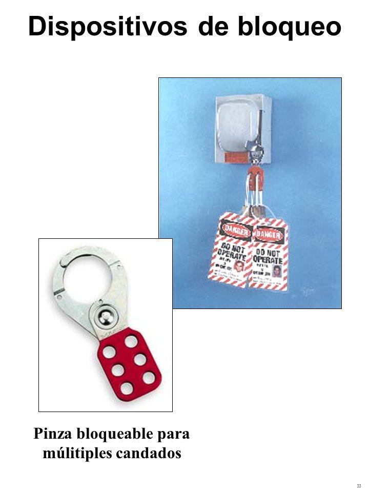 33 Pinza bloqueable para múlitiples candados Dispositivos de bloqueo
